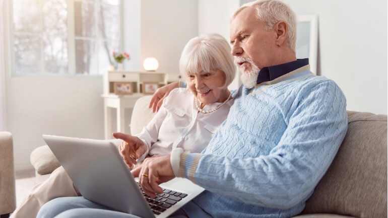 Senior couple looking into their social security benefits.