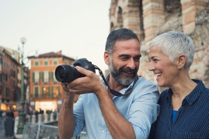 Senior couple visits Rome with income from life insurance.